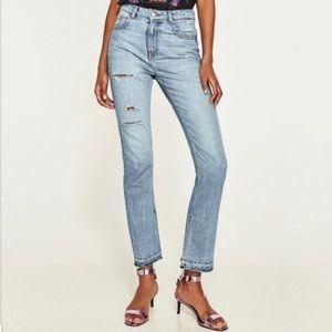NWT Zara High Rise Straight Open Hem Jeans